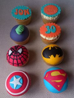 Super hero cupcakes...if only cupcakes would last a week in a box. haha