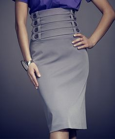 Look what I found on #zulily! FIGL Gray Button-Strap High-Waist Skirt by FIGL #zulilyfinds