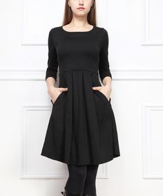 Cute LBD, could dress it up with a statement necklace and some fun tights.