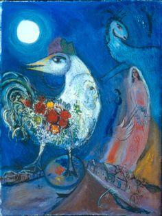 Image Detail for - COLLINS - MARC CHAGALL - Le Coq Blanc et les deux amants