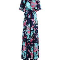 Flounce Off The Shoulder Floral Maxi Dress ($31) ❤ liked on Polyvore featuring dresses, blue floral dress, floral maxi dress, off shoulder floral dress, off the shoulder floral dress and blue dresses