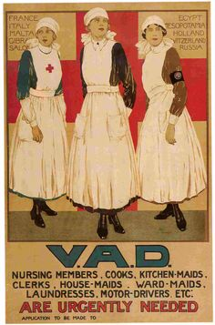 90,000 volunteers worked at home and abroad during World War One. They provided vital aid to naval and military forces, caring for sick and wounded sailors and soldiers.  County branches of the Red Cross had their own groups of volunteers called Voluntary Aid Detachments (often abbreviated to VAD).   Made up of men and women, the VADs carried out a range of voluntary positions including nursing, transport duties, and the organisation of rest stations, working parties and auxiliary hospitals.