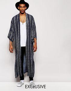 Reclaimed Vintage Full Length Kimono In Ditsy Print