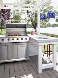 When space allows, add a countertop or island next to the grill to make food prep and service easier. A peninsula works well in this outdoor kitchen. It provides additional seating for outdoor dining that's close enough for the cook to chat with guest...