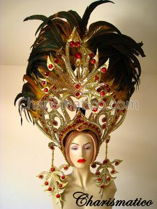 CHARISMATICO GOLD Drag Queen Tranvestite CABARET FEATHER HEADDRESS HEAD GEAR