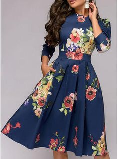 Vintage Casual Party Elegant Knee Length Round Neck Polyester Spandex Sleeves Print Floral A-line Dresses, veryvoga Girly Outfits, Dress Outfits, Fashion Dresses, Travel Outfits, Casual Outfits, Elegant Dresses, Vintage Dresses, A Line Dresses, Net Dresses