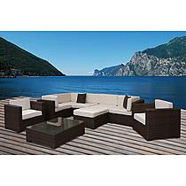 Atlantic Barbados Brown Synthetic Wicker Sectional 9-pc Set with Off-White Cushions