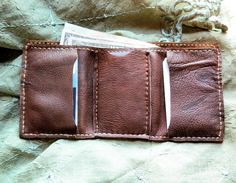 Mens Trifold Leather Wallet hand sewn by LeatherCrafted on Etsy, $25.00