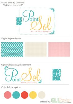 """Brand Identity Elements and Logo for small business or photographer """"Color on the beach"""".  photography logo"""