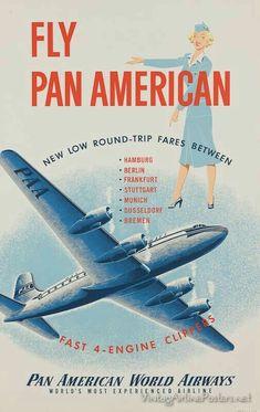 Vintage Aeroplanes Pan American World Airways Aeropostale, Poster Ads, Advertising Poster, Vintage Advertisements, Vintage Ads, Retro Airline, Travel Ads, Air Travel, American Airlines