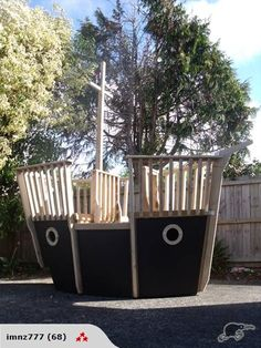 Wooden Pirate Ship Playhouse!! @Maggie John Killough