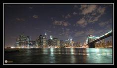 Lower Manhattan & Brooklyn Bridge. Night