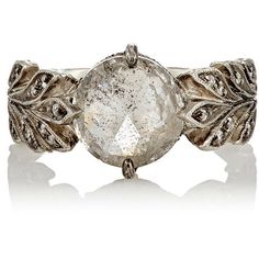 Cathy Waterman Women's Rustic Diamond Leafside Ring (100.110 DKK) ❤ liked on Polyvore featuring jewelry, rings, no color, diamond jewelry, cathy waterman ring, diamond leaf ring, round diamond ring and pave band ring
