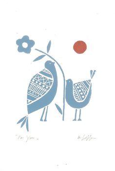 Love Birds, linocut print.