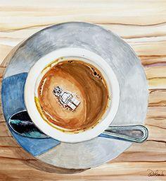 Happy Death by Coffee Watercolor on Aquabord by Jennifer Redstreake