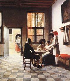 """Painting """"Cardplayers in een zonnige kamer"""" by Pieter de Hooch - www.schilderijen.nu"""