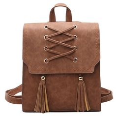 Finally! I found the Retro Girl's Cross Bandage Tassels Flap Square Brown Weave Leisure Travel Backpack  from ByGoods.com. I like it so so much!