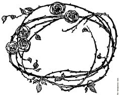 Border of Roses and Thorns, from Days With the Victorian Poets, by unknown [hits: Rose Thorn Tattoo, Rose Vine Tattoos, Dorn Tattoo, Border Tattoo, Vine Drawing, Picture Borders, Framed Tattoo, Rose Thorns, Anklet Tattoos