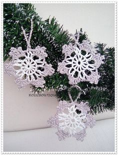 Crochet snowflakes Christmas decors Crochet white by ROSSIBOUTIQUE