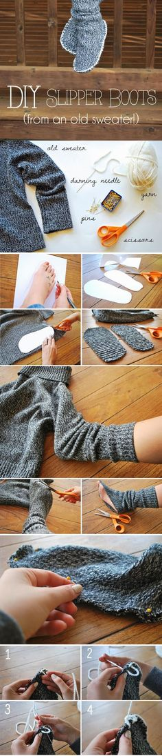 DIY Slipper Boots From An Old Sweater Pictures, Photos, and Images for Facebook, Tumblr, Pinterest, and Twitter