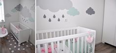 realisatie-babykamer-bed-en-wolkjes