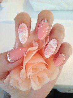 Sweet pink nails with gorgeous floral print! I don't like the shape of the nail but I love the colors and design.