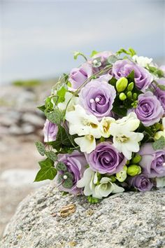 Arrangement of lilac roses, ivory freesias and ivy.