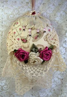 HANGING Pillow Sachet - Vintage lace and Doily - Rose Potpourri.