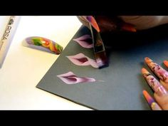 Perfecting flower petals using one stroke painting technique for nail designs Tutorial - YouTube