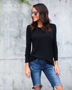 Seams To Me Long Sleeve Top - Black