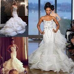 dc636db727e99 2018 Cheap African Mermaid Wedding Dresses Plus Size Bling Crystal Beads  Court Train Bridal Gowns Organza Ruffles Tiered Skirt Bridal Dress