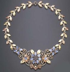 Moonstone, Diamond and Bi-Colored Gold Necklace,  Tiffany & Co, 1950s,  Christie's