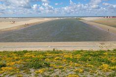 De uitwatering vanaf de Rijnkant richting de Noordzee genomen