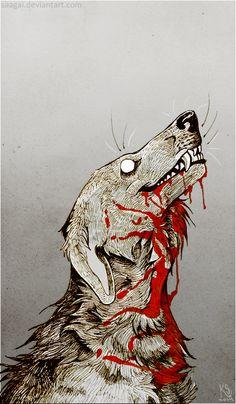 Dog Blood by Saagai on DeviantArt Arte Horror, Horror Art, Dark Art Drawings, Cool Drawings, Dessin Old School, Vent Art, Arte Obscura, Creepy Art, Dark Fantasy Art