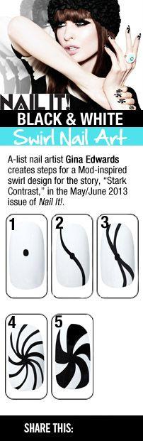 How to Create this Black and White Swirl Nail Design | Spiral Nails | Pinwheel Nails | Punk Nails | Music Nails | Nail Designs, Nail Design, Nail Designs Fashion, Nail Designs Celebrities, Nail It Magazine