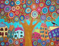 Inspiration for a quilt - Bird Tree & Houses by karlagerard, via Flickr