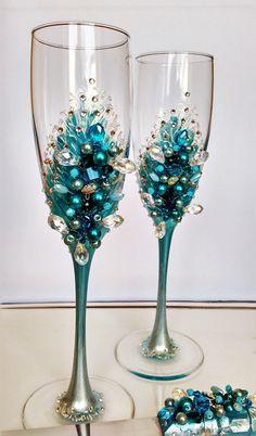 Flautas de champán de boda azul perla boda por WeddingArtGallery