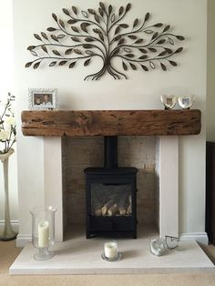 Casual Luxury, living room ideas, wood beam mantle, tree wall decor, tree art – Dream Home – fireplace Wood Burner Fireplace, Home Fireplace, Living Room With Fireplace, Fireplace Design, Fireplace Ideas, Farmhouse Fireplace, Fireplace Remodel, Living Room With Stove, Gas Log Burner