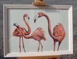 Framed version of Pink Flamingo Linocut by Three Bears Prints