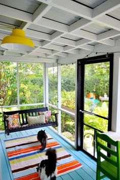 this porch is 6' x 14', so this layout could work for a small screened in porch. she has a little buffet bar as well as a porch swing, or she originally planned to have 2 chairs in that area as seen here: http://redbird-blue.blogspot.com/2012/04/not-so-pretty-porch.html Porches, Front Porches, Verandas, Porticos, Decks, Porch