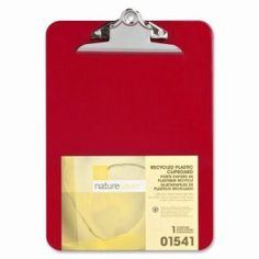 "Nature Saver Plastic Clipboard, Recycled, 1"" Cap, 9""x12"", Red (NAT01541)"