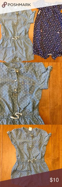 Denim + Floral Reompers Just in time for summer! The first romper is a light chambray with polka dots, a gathered waist with decorative drawstring, rolled short sleeves, and three buttons. The second is a navy floral print with gathered neckline and ribboned pockets. Great summer staples. Both in very good used condition. Carter's One Pieces Bodysuits