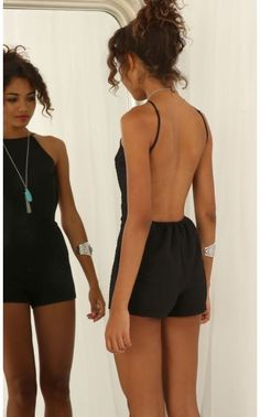 "Backless Playsuit in Black""> Playsuits/Jumpsuits > Backless Playsuit in Black - Backless Playsuit, Playsuit Romper, Summer Outfits, Casual Outfits, Cute Outfits, Look Fashion, Fashion Outfits, Black Wardrobe, Mode Boho"