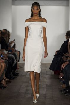 Zac Posen spring 2015 neoprene off-the-shoulder cocktail dress. WOW. perfect