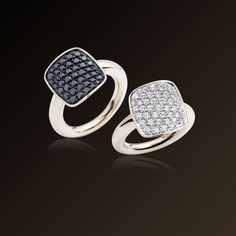Cardinale - Vhernier, Ring in white gold and white diamonds Ring in white gold and black diamonds. Made in Italy.