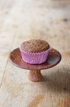 Carrot cupcake for one! Filled with the sweetness of maple and spice of ginger and cinnamon. Gluten free + vegan too!