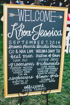 Bold and fun sign: http://www.stylemepretty.com/little-black-book-blog/2015/02/24/whimsical-romantic-wente-vineyards-wedding/ | Photography: Onelove - http://www.onelove-photo.com/