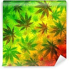 Carta da Parati in Vinile Marijuana Cannabis Foglie Motivo