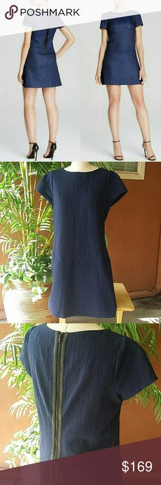 Alice + Olivia Liv Cloqué Dress Navy Blue Drop Waist Dress Leather trim zip up the back  Size 10 EUC Gently worn. No issues. Alice + Olivia Dresses