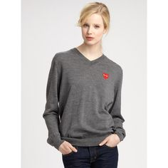 Comme des Garcons Play Cotton Jersey Long Sleeve Tee ($376) ❤ liked on Polyvore
